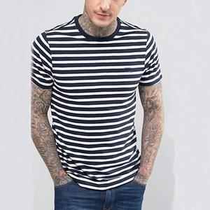 Wholesale Men Fancy T Shirt Black And White Striped T Shirt