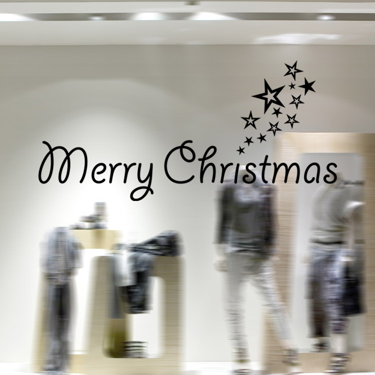 Modern art home decoration removable wall stickers simple Merry Christmas with stars black white red 3 colors showcase decals