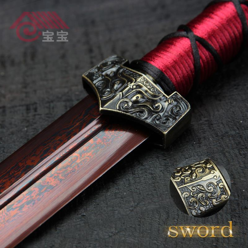 LQS15hj100025 vintage home decor Chinese dagger red blade sword