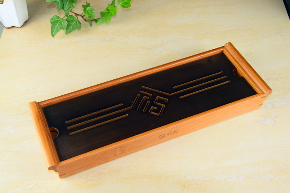 Black Tabletop Chinese Gongfu Tea Serving Bamboo Table