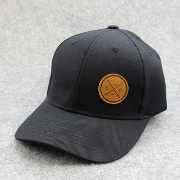 8f9fc02cd Top Quality Popular Black Cotton Fabric Baseball Cap With Leather Patch  Front Arc Design Embroidery On Back Hat For Sport - Buy Popular Black  Cotton ...