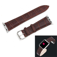 For Apple Watch 42mm Crocodile Texture Replacement Genuine Leather Watchband