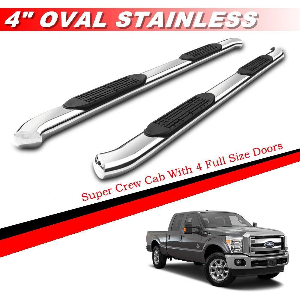 """Gldifa 4"""" Bent Oval Running Boards For 1999-2016 Ford F250/F350/F450 Super Duty Super Crew Cab With 4 Full Size Doors Nerf Bar Side Step Rails"""