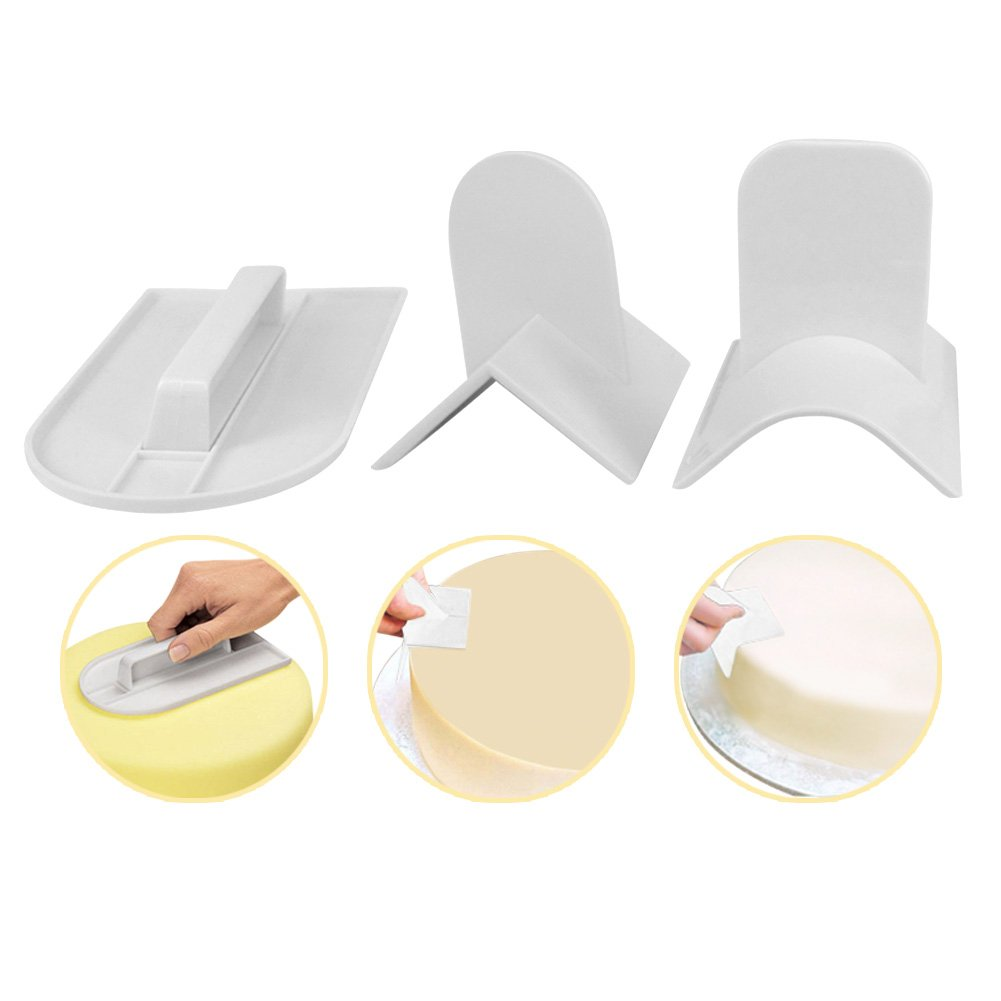 Cake Edger – Complete Set of 3 Cake Smoother Polisher with Round Edger and Sharp Edger | DIY Decorating Finisher Tool for Pastry Fondant Sugarcraft Buttercream Icing Frosting