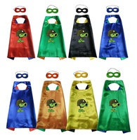 Satin 2layer Super Rod Avengers Superhero Kids Cape+mask Halloween Costume Cosplay Plants vs Zombies Costume