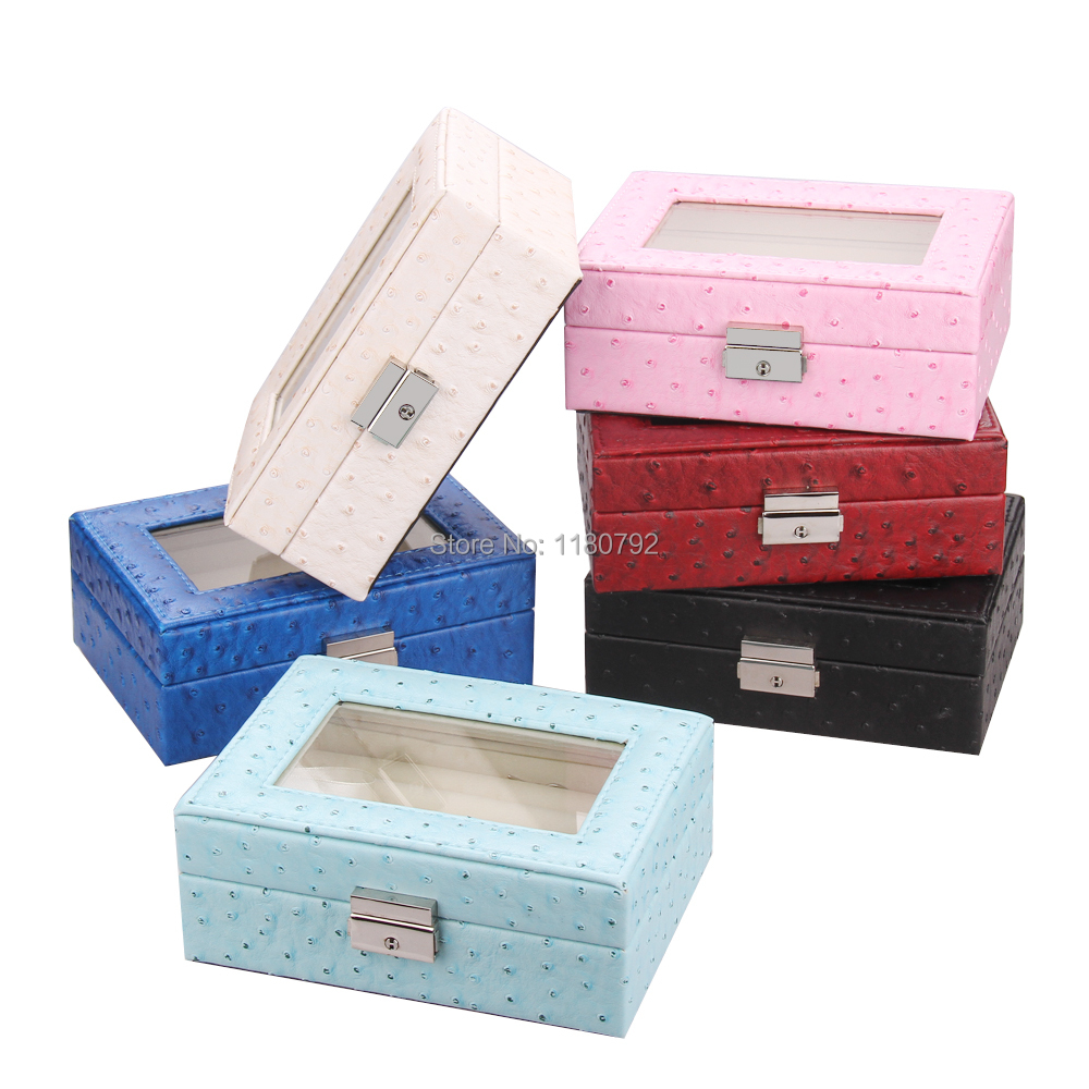 [ROWLING] Jewelry Box  Rings Box Beads Earring Tie Pins Earring Watch Display Case Storage Box Faux Leather ZG198