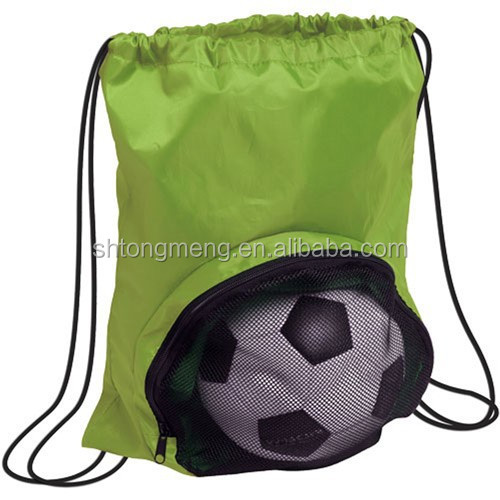 New style football shaped 210D nylon drawstring back bag with mesh pouch