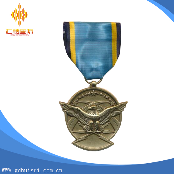 Top quality custom eagle shape medal with short ribbon