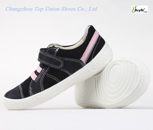 Flexible new model fashion design black microfiber PU injection kids shoes fine quality footwear