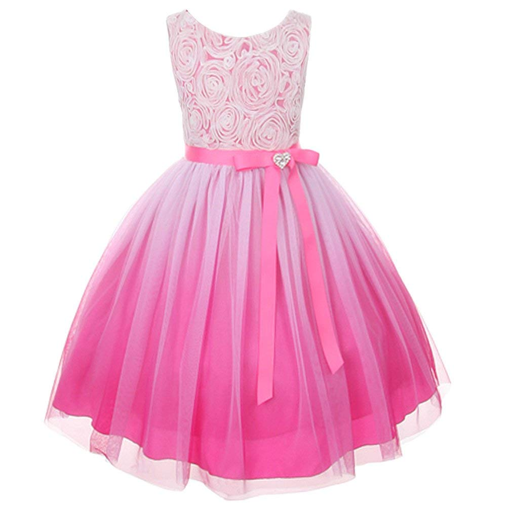 Kids Dream Fuchsia Ombre Rosette Special Occasion Dress Toddler Girl 2T