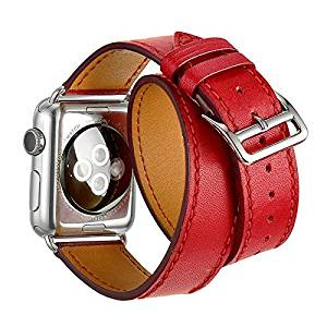 Apple Watch Band, Elenxs Luxury Cuff Genuine Leather watch Band strap Bracelet Replacement Wrist Band +Leather Wristband iWatch Strap Band Adaptor and Metal Clasp (38mm, red)