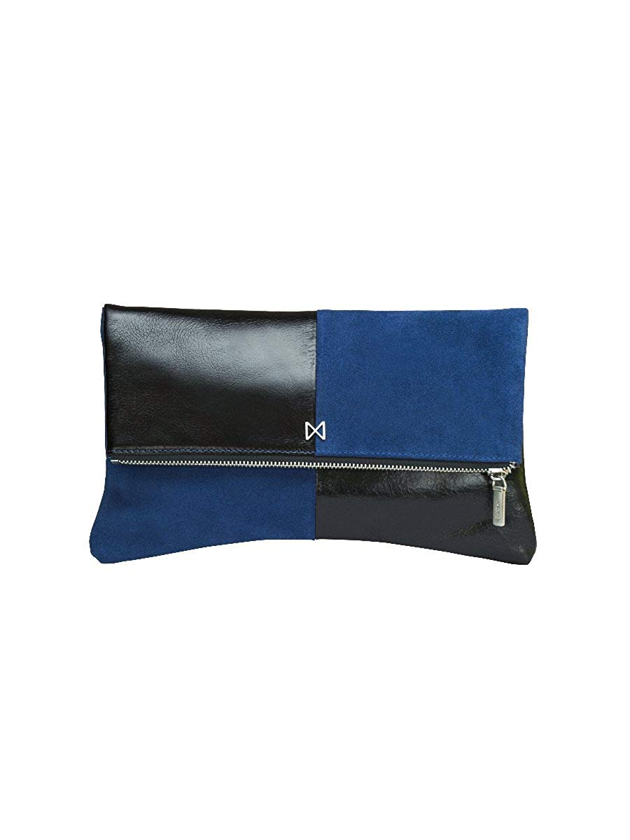 Get Quotations · ESOTERIC Leather and Suede Dual-Textured Colorblock  Foldover-Style Clutch 4f528a6e23497