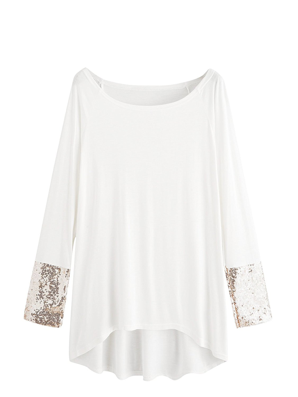 452ddca8c6cd6 Get Quotations · MakeMeChic Women s Solid Dip Hem Sequin Long Sleeve T-Shirt  Tee Top