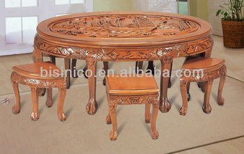 Chinese Vintage Wooden Carving Dinning Furniture Exquisite Carved Table Top Solid Wood Ellipse For 6 People Hand