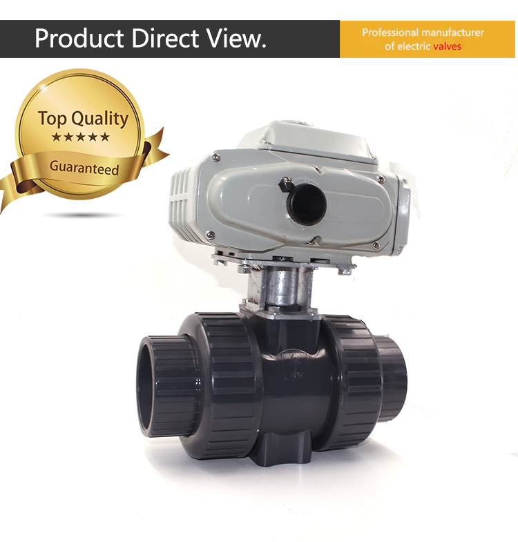 CTB two way motorized pvc ball valve with electric actuator 220V 380V 24V 12V