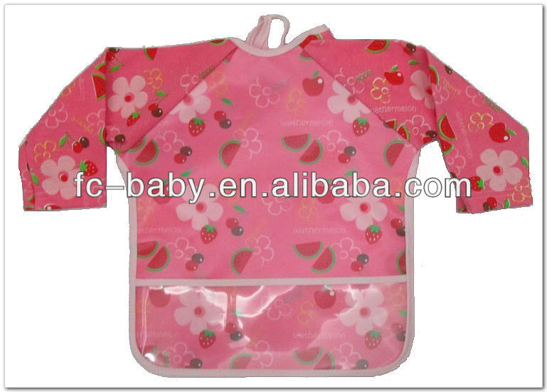 Cute PEVA waterproof long sleeves baby bibs wholesale