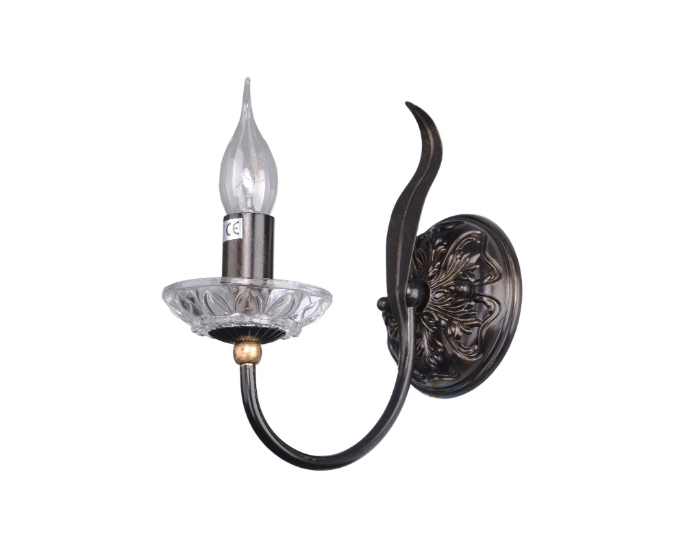 Hot sale Classic CE lighting single head E14 wrought iron crystal wall lamp
