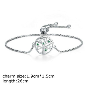 Alibaba.com fashion jewellery european sterling silver tree of life charm adjustable bracelet with chain for women girls
