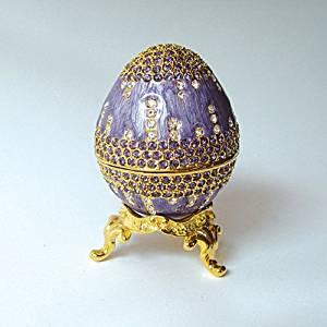 Lavender Purple Faberge Egg Box set with Swarovski Crystals includes velvet Ring Insert Engagement Ring Presentation Box