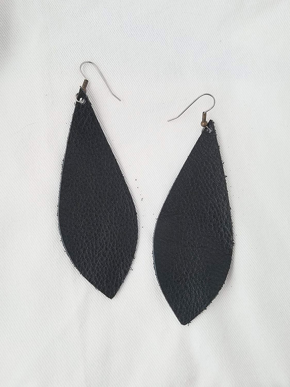 Black/Leather Statement Earrings - Large/Joanna Gaines Earrings/Pendant