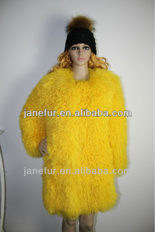 Yellow Color Mongolian Lamb Fur long Coat/Garment/Dyed Color/Wholesale And Retail