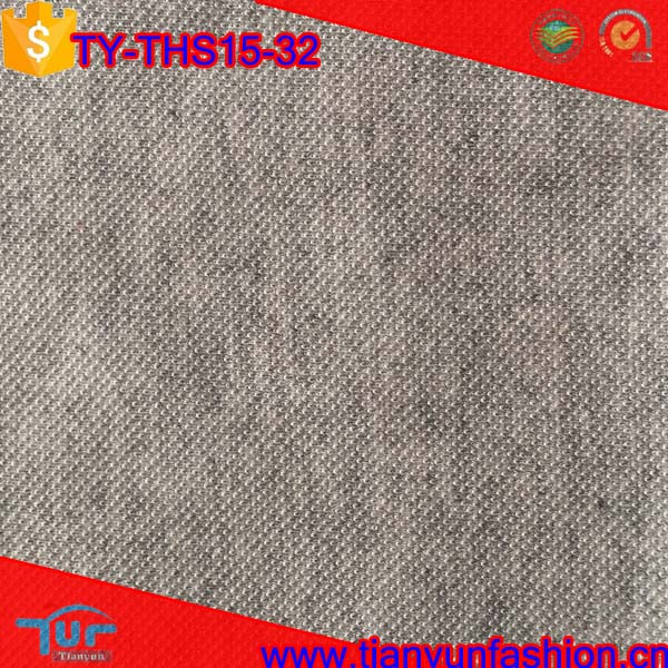 hemp grey colored cotton and polyester material dyed shirts pique knit fabric