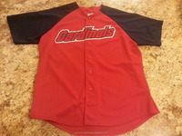 Button Shirts contrast red and black Baseball Jersey