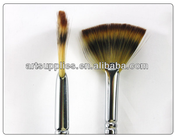 Nylon hair black handle fan head paint brushes various types