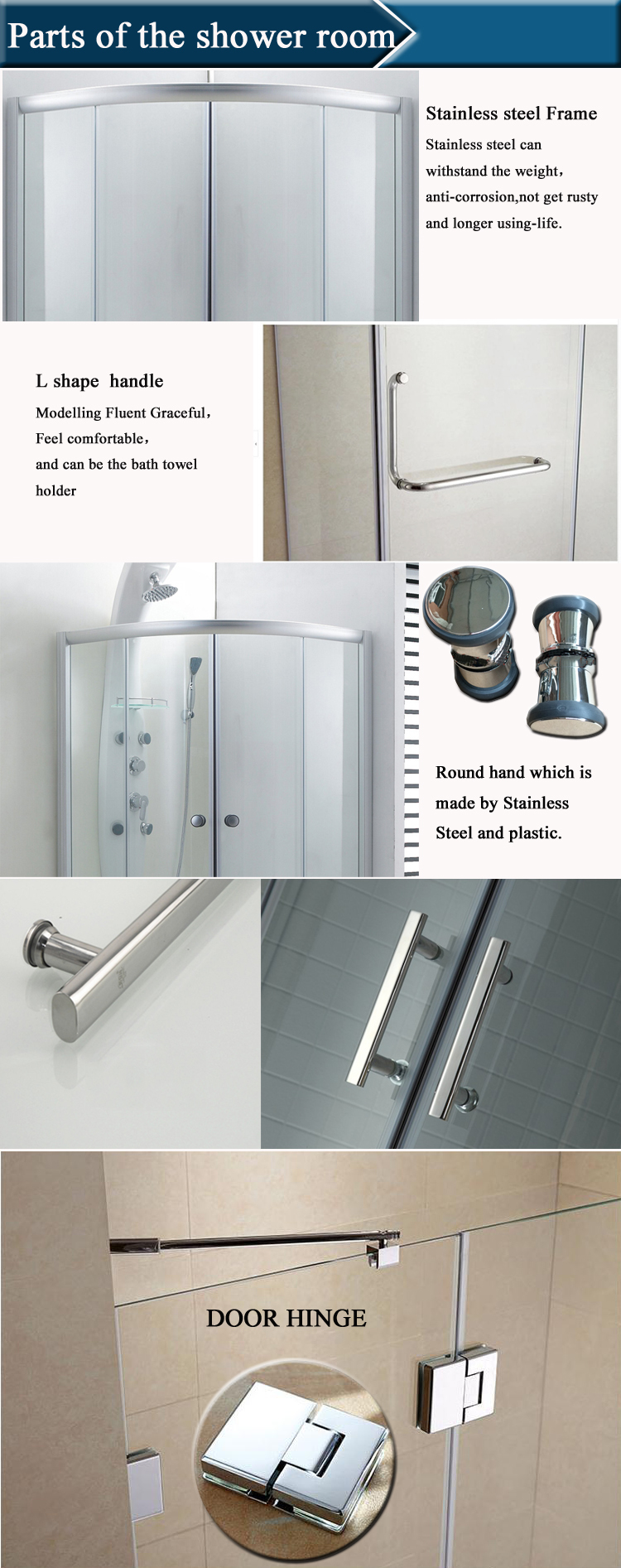 HS-SR012B curved shower cabin/ corner shower box/ shower booth