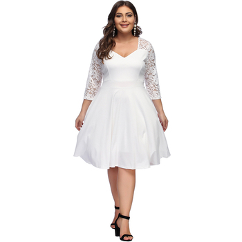 Autumn Fashion Lace Long Sleeve Midi Length Plus Size White Dress - Buy  White Dress,White Lace Dress,Midi Dress Product on Alibaba.com