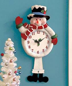 Musical Moving Light-up Snowman Clock Play 12 Christmas/holiday Songs