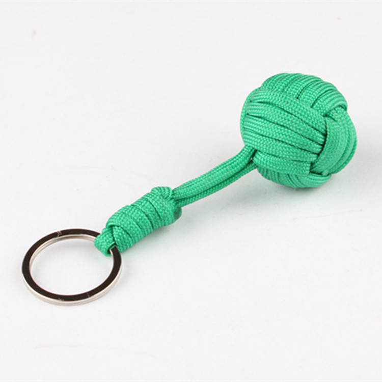 Stainless Steel Ball Pendant Self Defense Monkey Fist Ball Paracord Keychain Knot