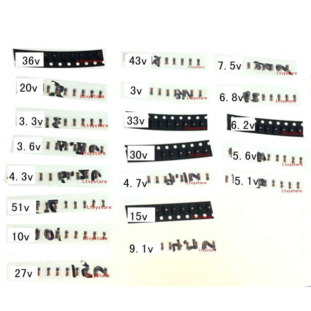 Zener Diode Kit, Ltvystore 1/2W 0.5W 1206 SMD Zener Diodes Assortment Set 3V 3.3V 3.6V 4.3V 4.7V 5.1V 5.6V 6.2V 6.8V 7.5V 9.1V 10V 15V 20V 27V 30V 33V 36V 43V 51V