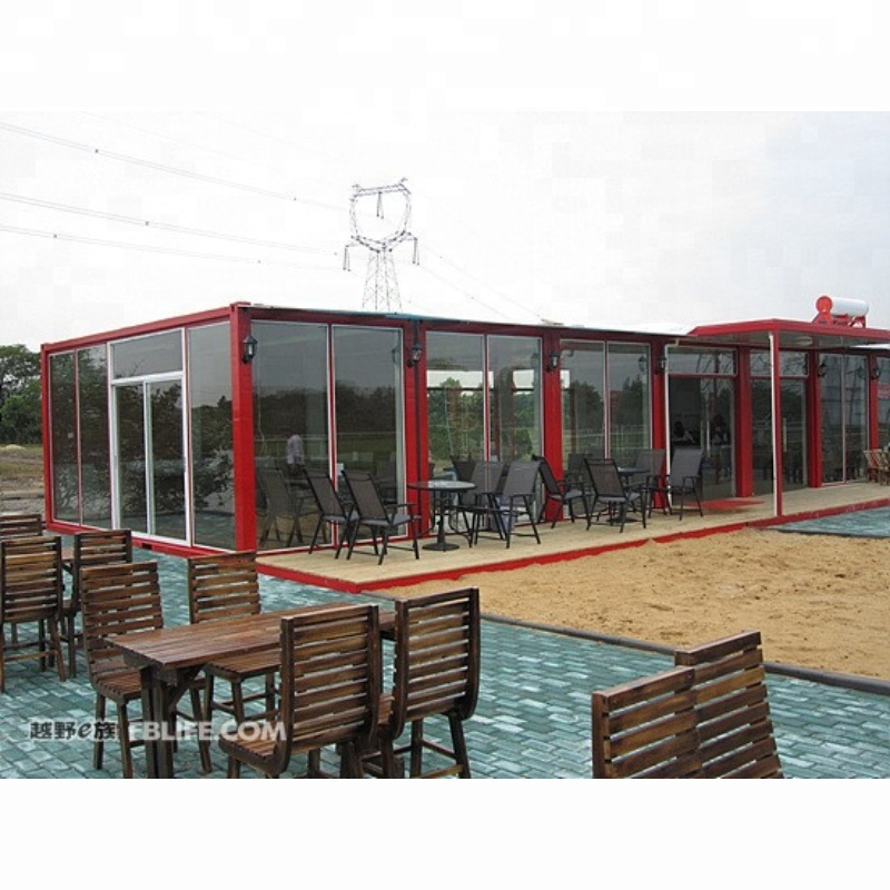 prefabricated mobile modular container restaurant with fixed glass wall