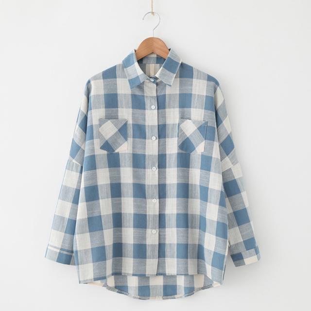 98f6869d9579 Commercio all ingrosso 100% delle donne del cotone plaid shirt camicetta