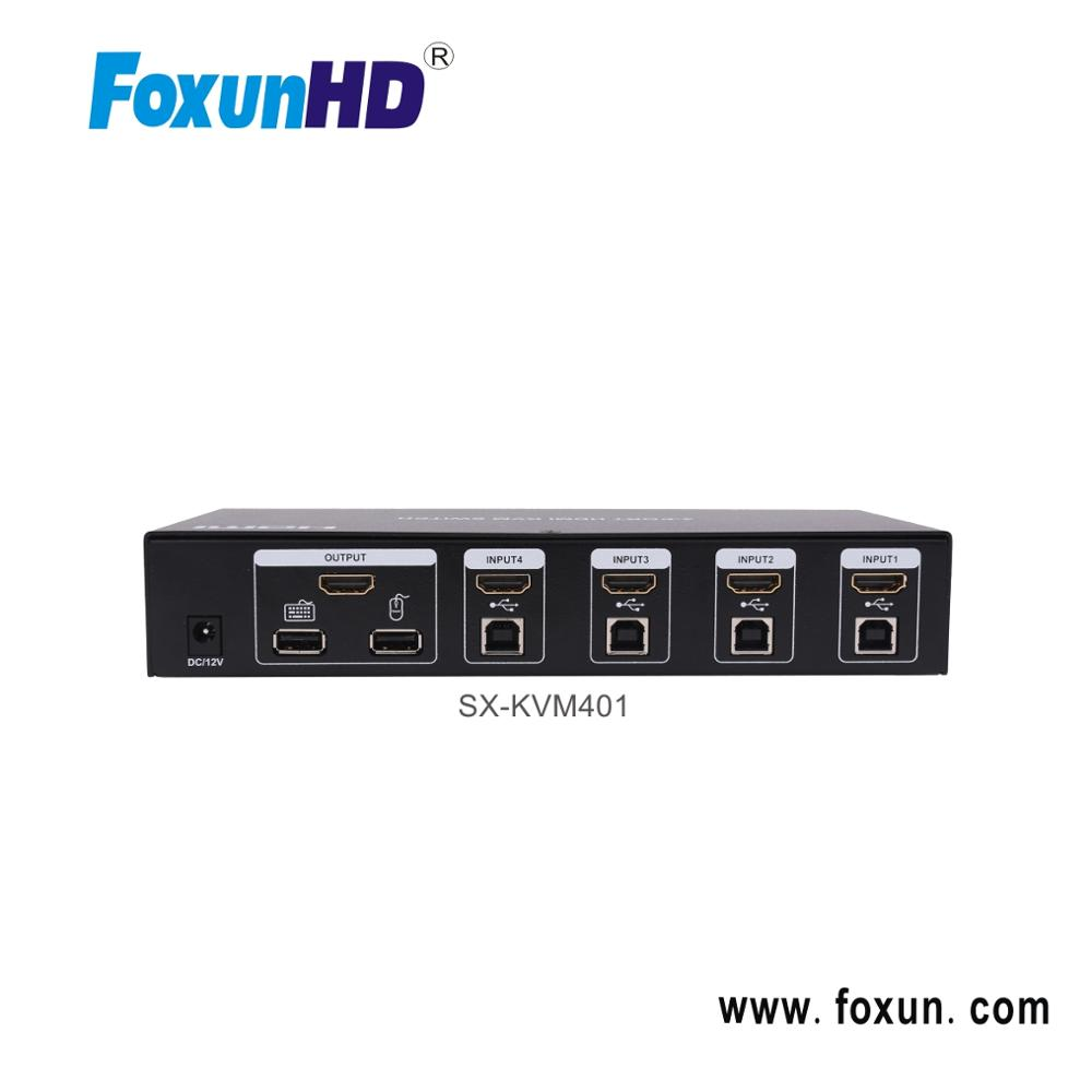 Foxun 4 Inputs 1 Output Support 3d Using Only 1 Set Of Keyboard,Mouse And  Monitor To Control 4 Host Devices Kvm Switch - Buy Kvm Switch 8 Input 1