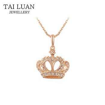 Diamond Crown Necklace 18k Gold