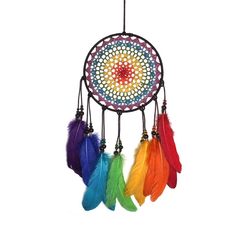 Meilun handwork colorful crochet hanging dreamcatcher feather decorations