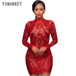2018 Women Sexy Gothic Vintage Dress Party Night Club Geometric Sequin Bodycon Dress QJ5208