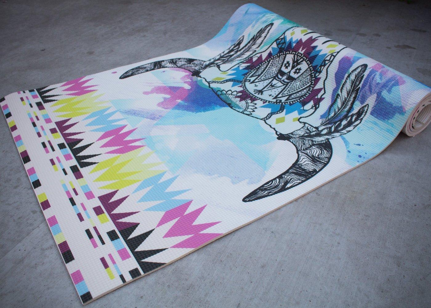 "Vagabond Goods 1/4"" Thick Premium Yoga Mat in ''Buffalo Dancer' Design"