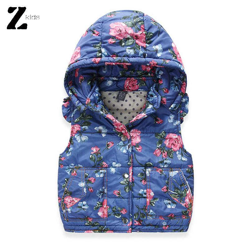 Autumn And Winter Vest Children Girls Floral Print Outerwear Sleeveless Hooded Warm Coat Cotton Children Clothing Waistcoat 2015