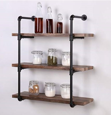 Industrial Pipe Shelves Bookcase Rustic Wood Metal Wall Mounted Towel Bar  Hanging Storage Racks Floating Wood Shelves   Buy Pipe  Shelves,Bookcase,Wall ...