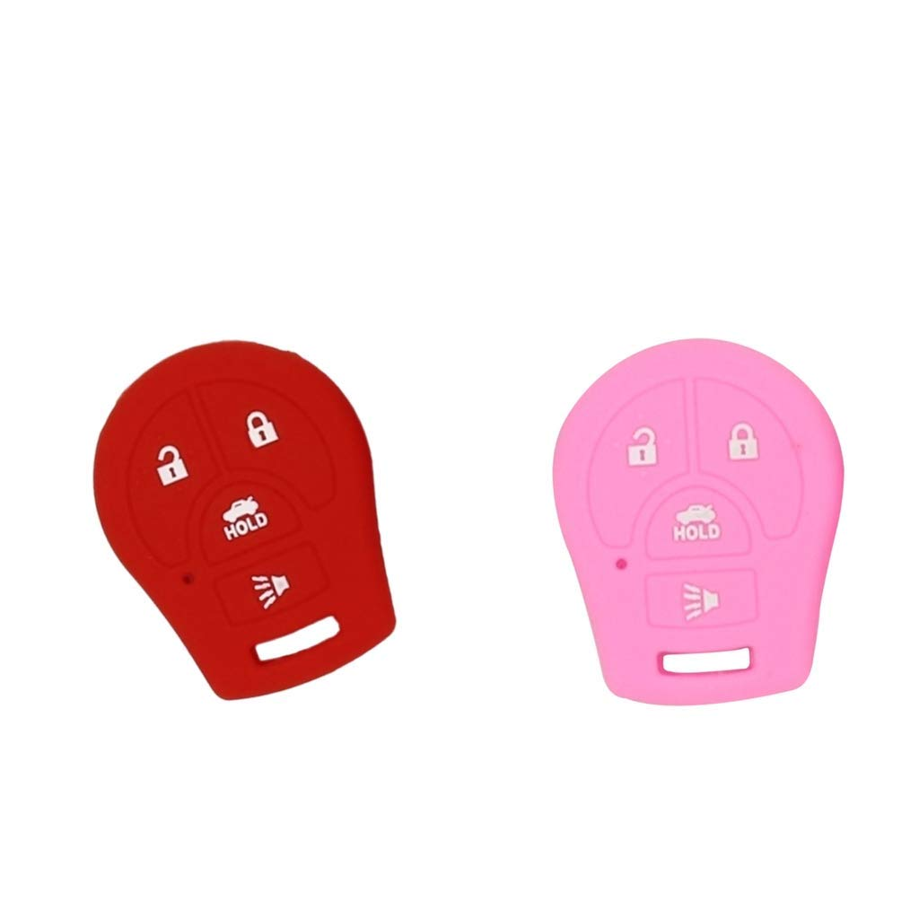 Baosity 2pcs Silicone Remote Keyless Car Key Fob Rubber Cover for Nissan Red Pink
