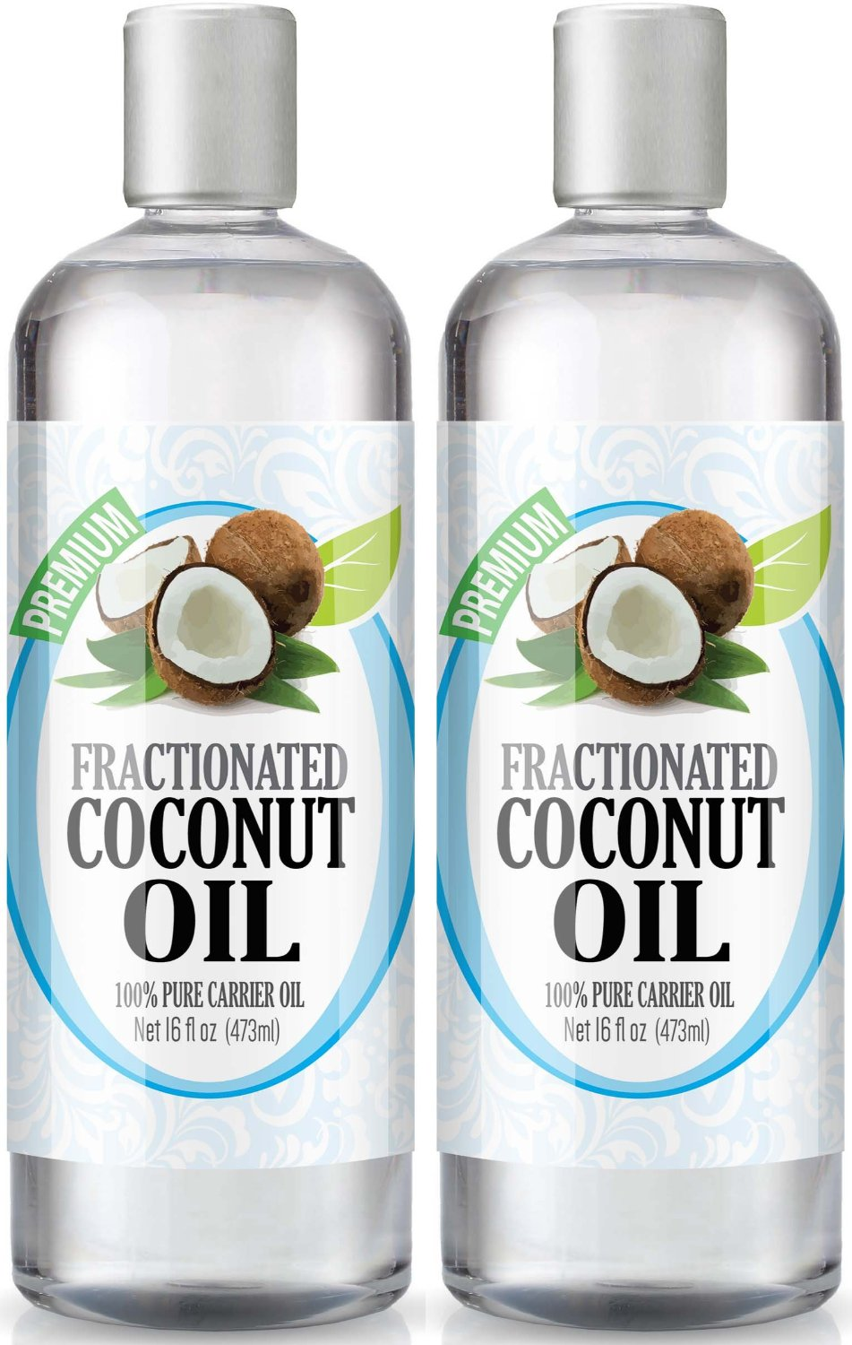 Fractionated Coconut Oil 16oz - 100% Pure, Premium Therapeutic Grade - Best Base or Carrier Oil for Aromatherapy, Essential Oil, and Massage - Numerous Hair & Skin Benefits and Perfect for use in Creams, Shampoos, And Other Home Recipes - Large 16 ounce size - Pack of 2