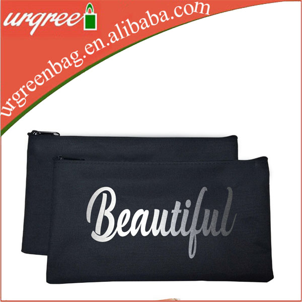 Hot stamp rose gold silver printing cotton zippered pencil case, wholesale canvas zipper pouch, blank canvas make up bag