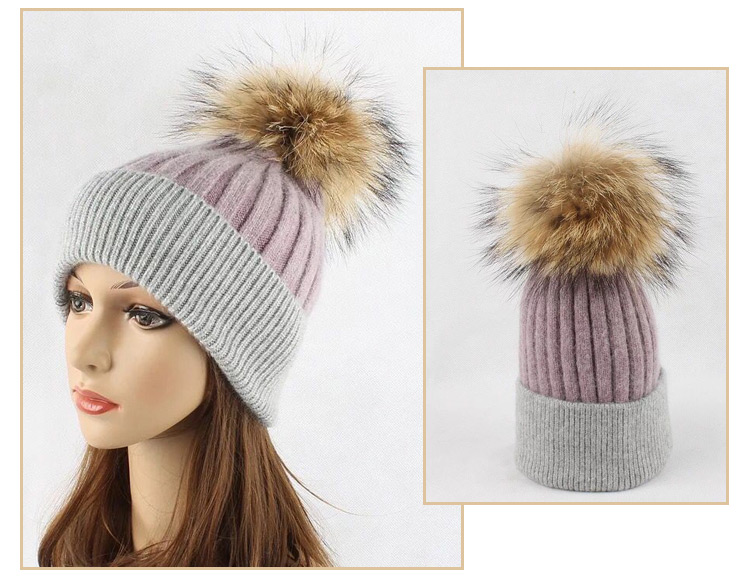Wholesale Knitted Winter Hat Custom 30% Wool Beanie With Detachable Ball