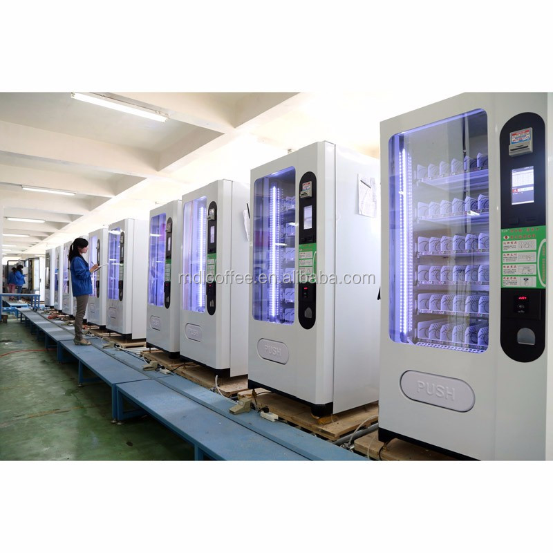 (Cheaper price )snack&cold bottled drink Vending Machine with coin&cash&give changer LV-205F-A