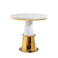 Custom simple modern stainless steel frame designer white coffee tables furniture round marble end table