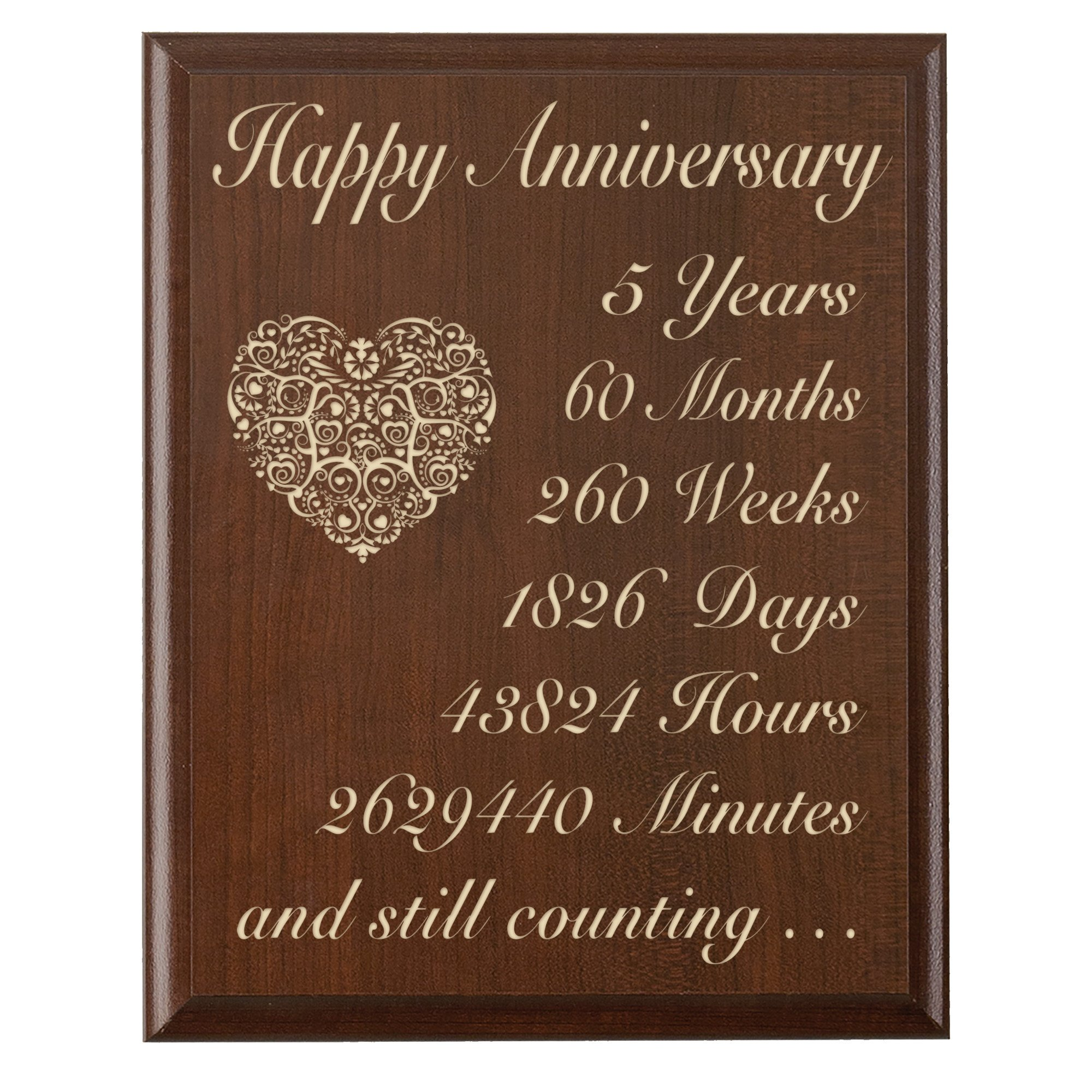 """5th Wedding Anniversary Wall Plaque Gifts for Couple 5 Year Anniversary Gifts for Her, Fifth Wedding Anniversary Gifts for Him Wall Plaque By Dayspring Milestones ( (Cherry, 12"""" X 15"""")"""