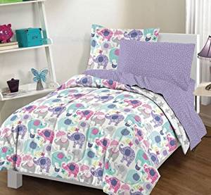 7 Piece Kids Cute Elephant Comforter Full, Playful Adorable Jungle Elephants All Over Print, Pretty Fun Animals Bedding, Reversible Gray Stars, Blue Grey Pink Purple White Teal
